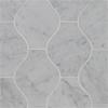 "Water Jet 512 Lanterna White Carrara Polished Marble 13.10""x11.40"""