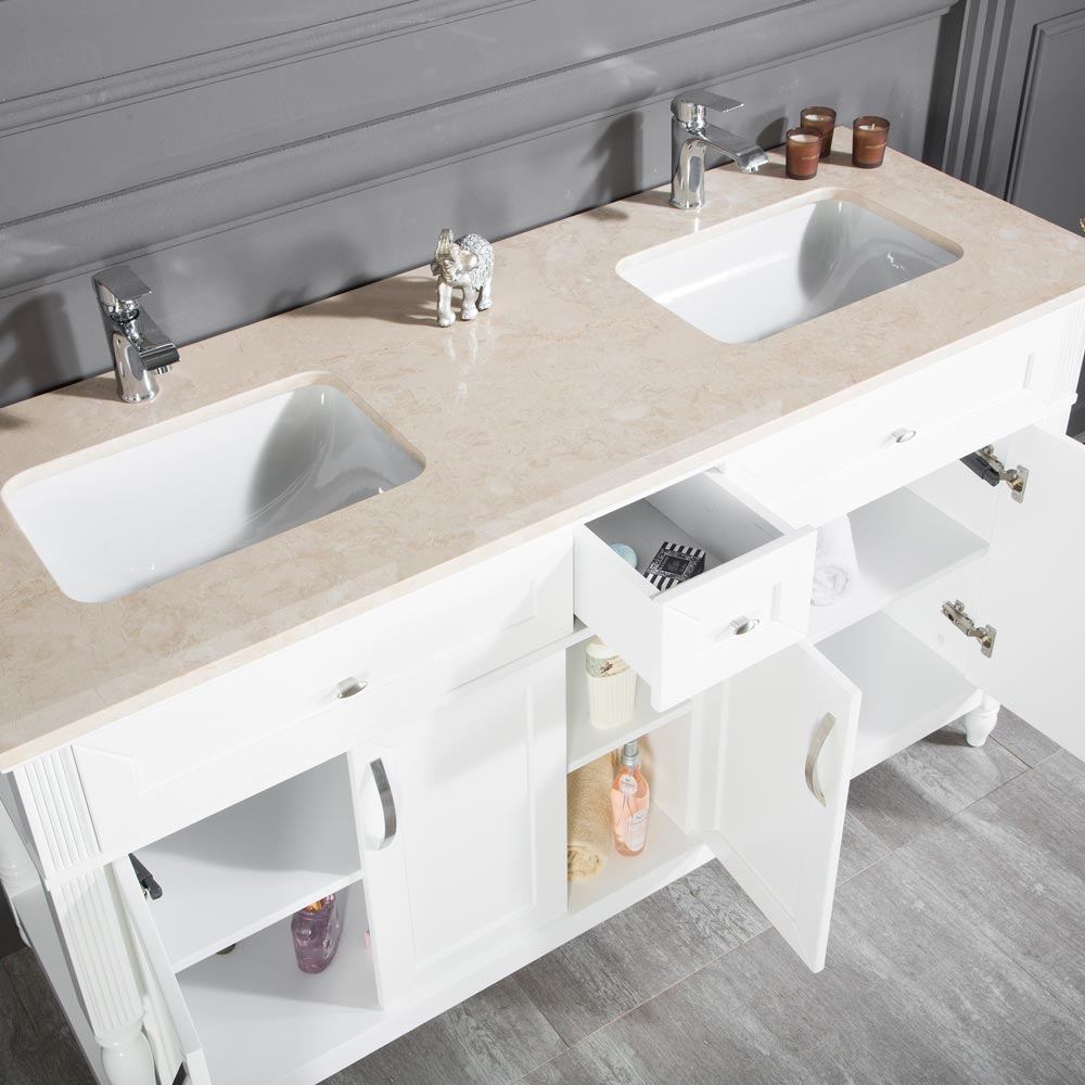 Paterson 60 inch White Double Sink Bathroom Cabinet ...