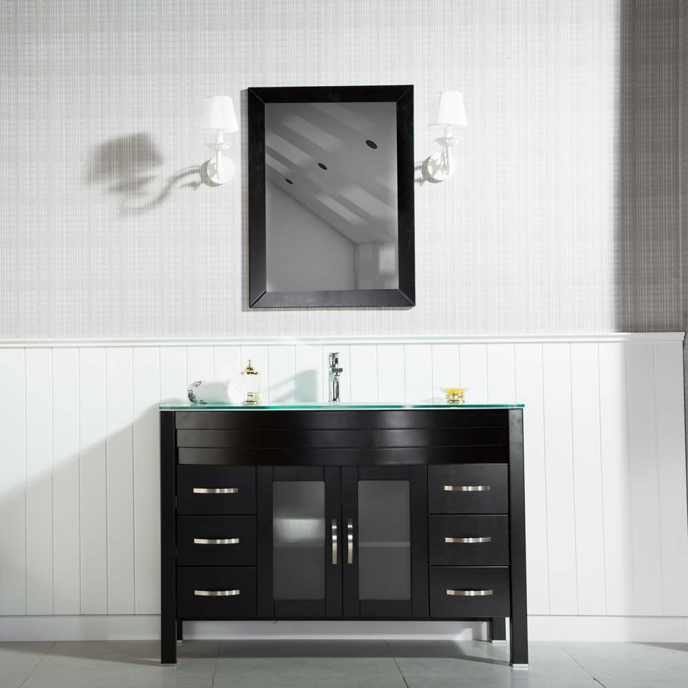Jersey City 48 Inch Black Bathroom Cabinet