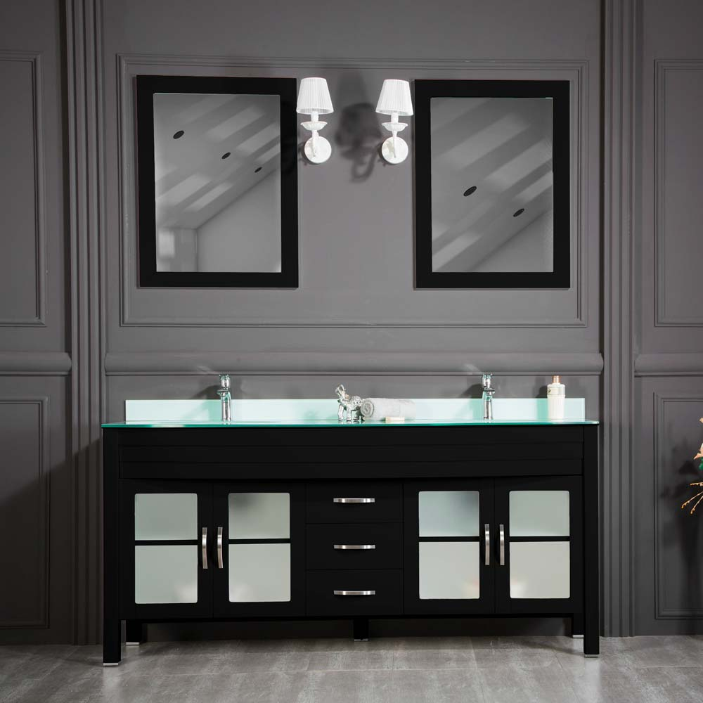 Jersey City 72 Black Double Sink Bathroom Cabinet
