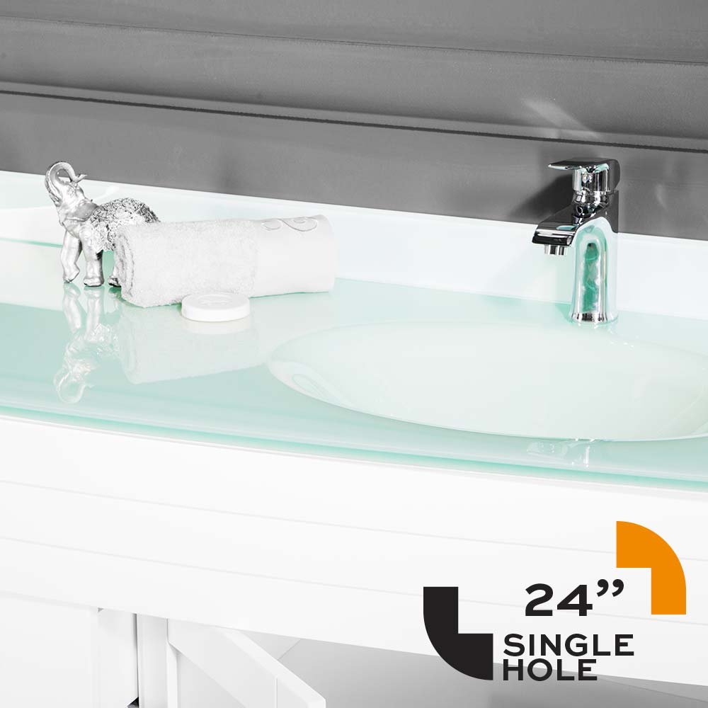 Counter Top Awis 24 Inch Temper Glass Undermount Single Sink Hole ...