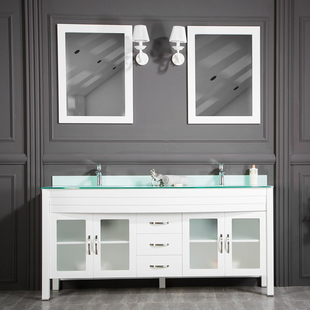 White Double Sink Bathroom Cabinet