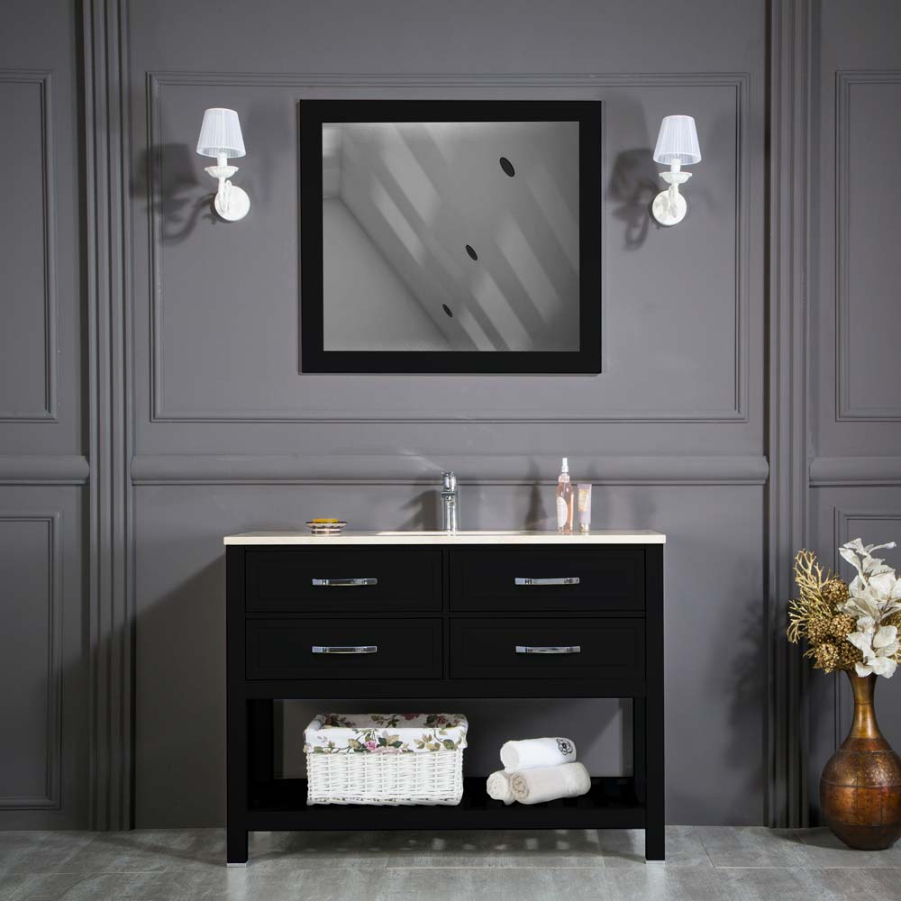 Edison 48 Inch Black Bathroom Cabinet