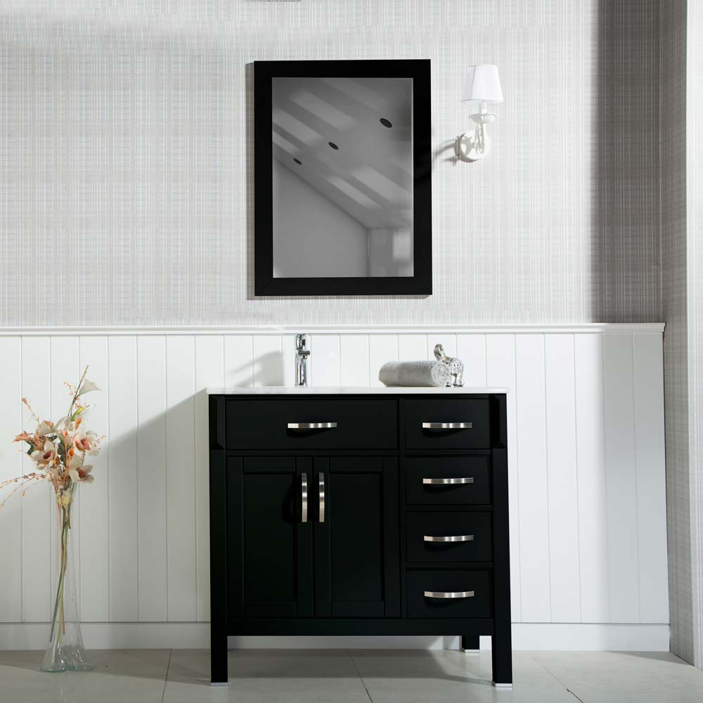 Woodbridge 36 Inch Black Bathroom Cabinet
