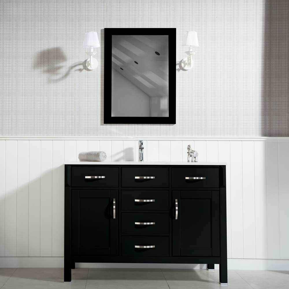 Traditional Contemporary Bathroom Cabinet Fawna 56 Inch Black ...