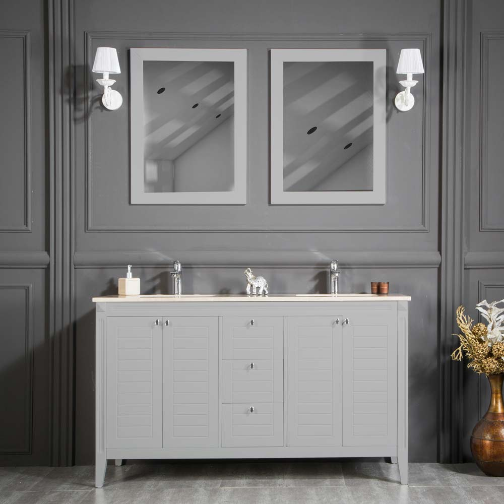 Light Gray Double Sink Bathroom Cabinet
