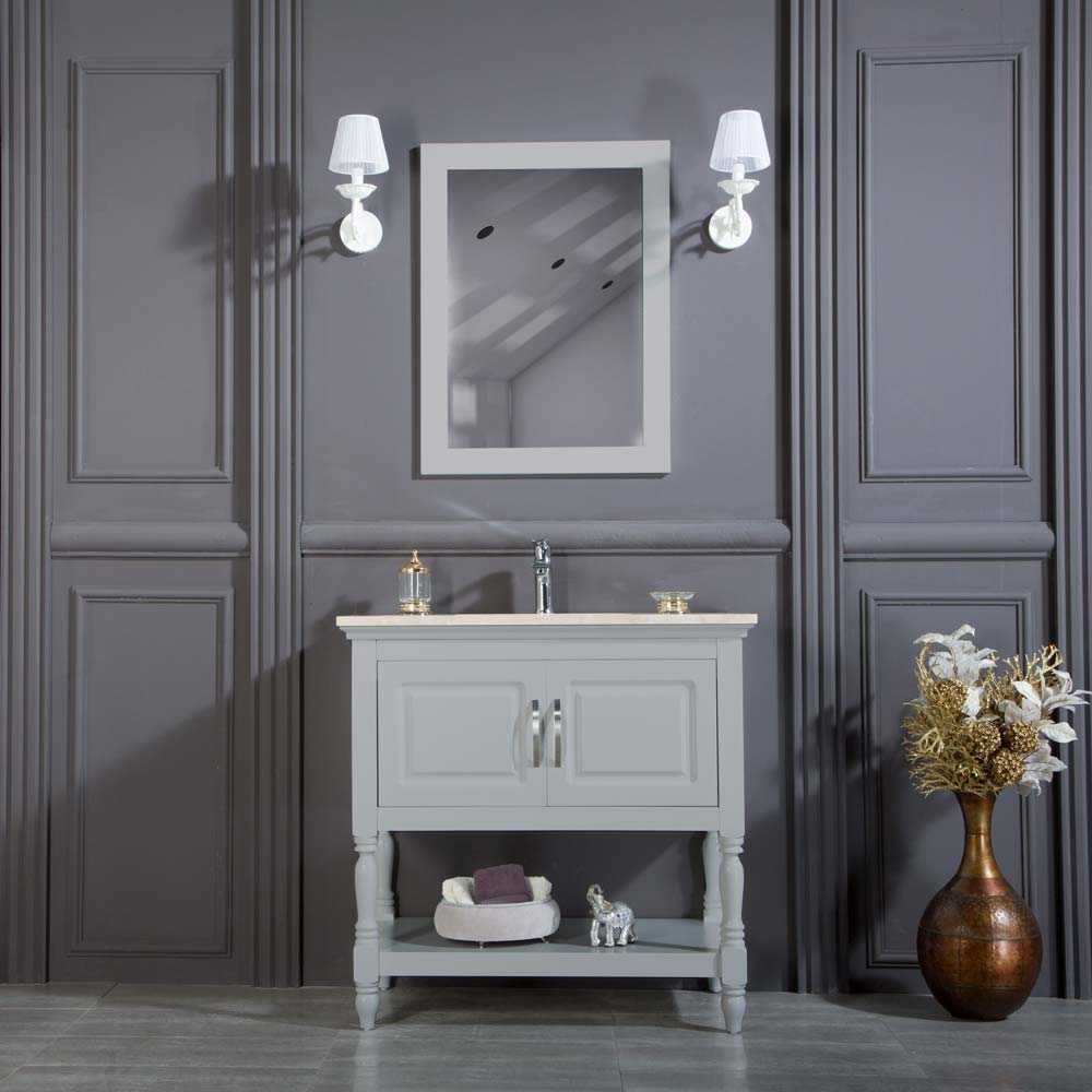 Hamilton 30 Inch Light Gray Bathroom Cabinet