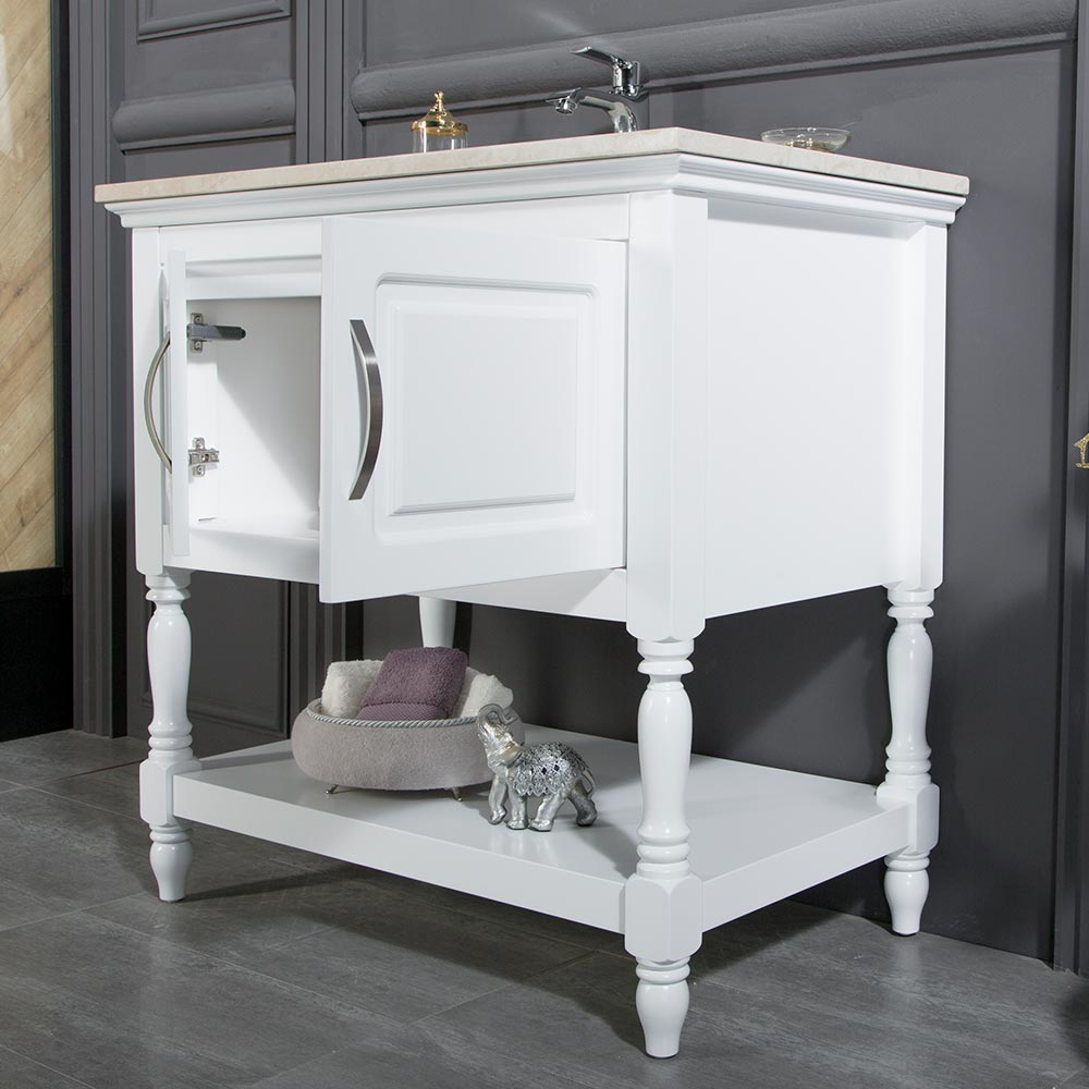 Traditional Contemporary Bathroom Cabinet Los Angeles 30 Inch White ...