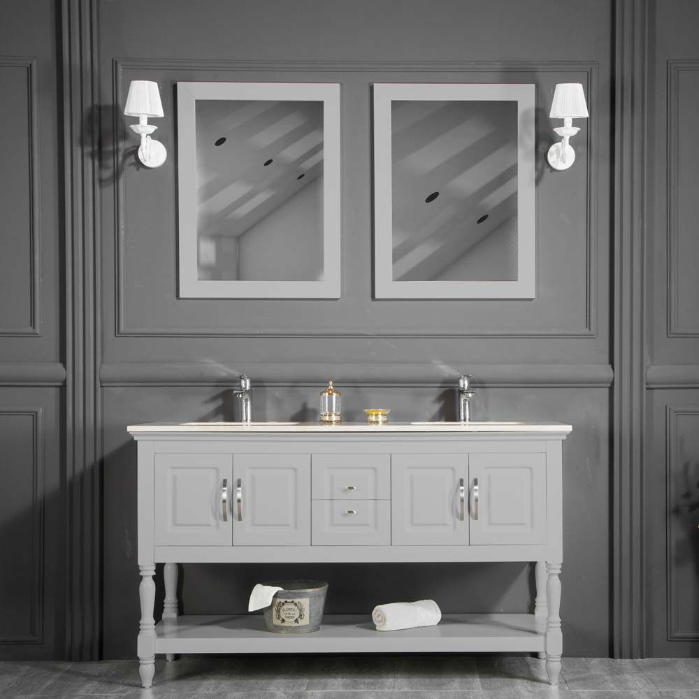 Hamilton 60 Inch Light Gray Double Sink Bathroom Cabinet Vanity Sale