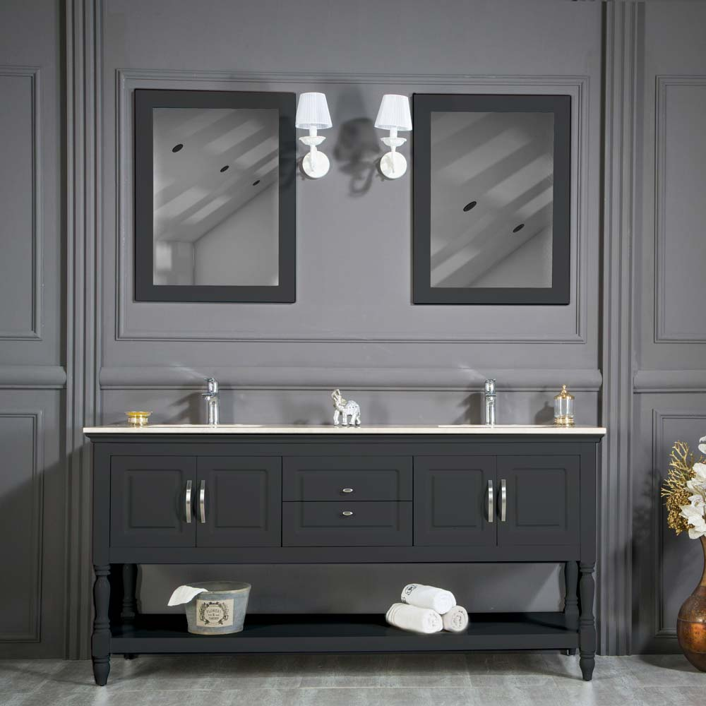 Anthracite Double Sink Bathroom Cabinet