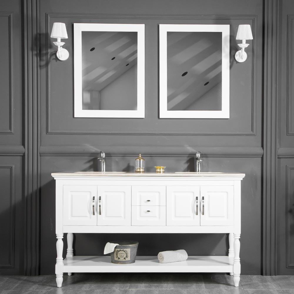 LOS ANGELES 60  WHITE DOUBLE SINK BATHROOM CABINET & Traditional Contemporary Bathroom Cabinet Los Angeles White 60 Inch ...