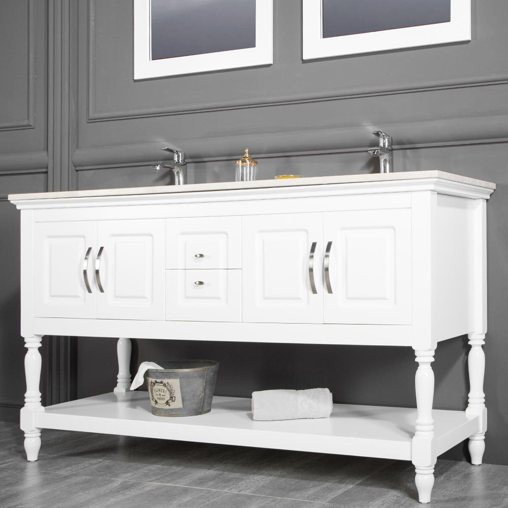 Traditional Contemporary Bathroom Cabinet Los Angeles White 60 Inch ...