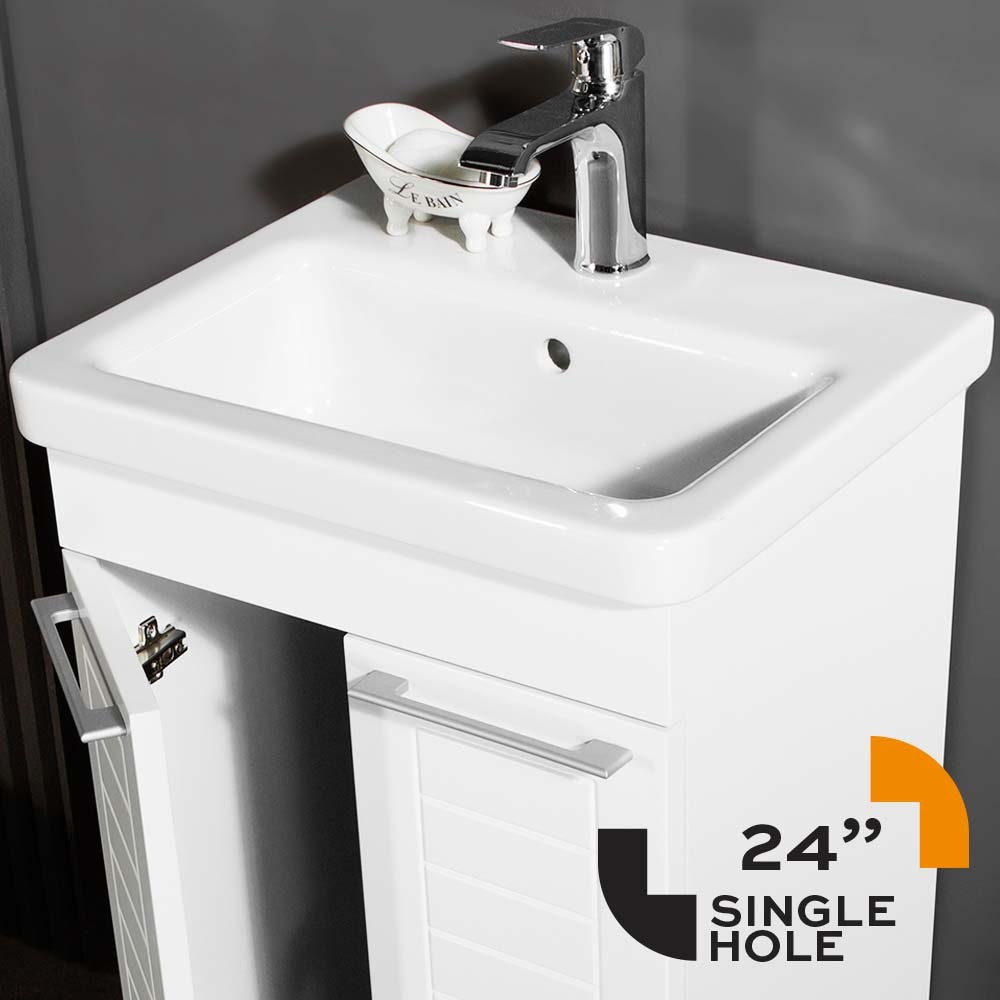 Clifton Bathroom Vanity Top Porcelain Sink 24 Integrated Single Hole For Faucet
