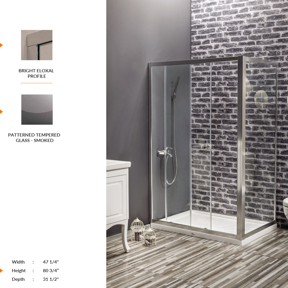 Nexus Rectangle Shower Door 47 1 4 80 3 31 2 Fixed Sliding Panel Patterned Tempered Gl Smoked
