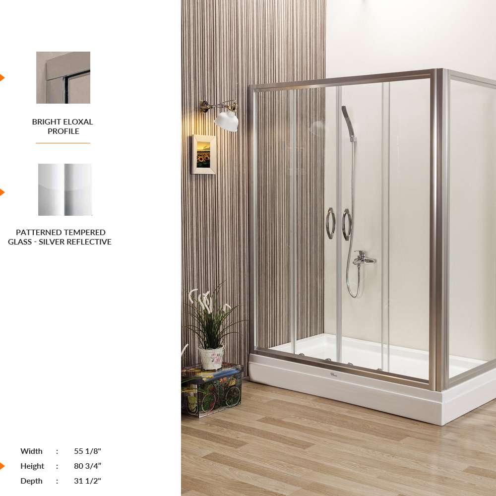 Nexus Rectangle Shower Door 55 1 8 80 3 4 31 2 Fixed Sliding Panel Patterned Tempered Gl Silver Reflective