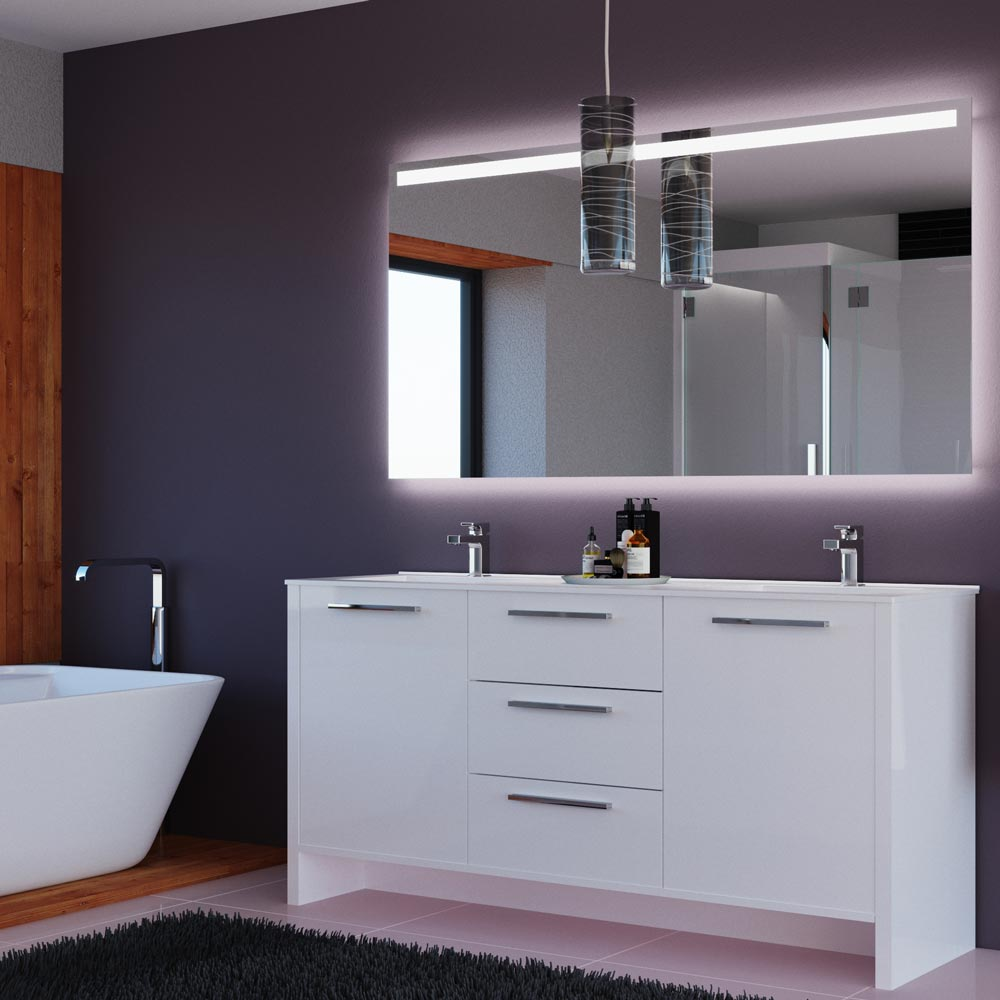 "Nona 71"" Glossy White Bathroom Vanity"
