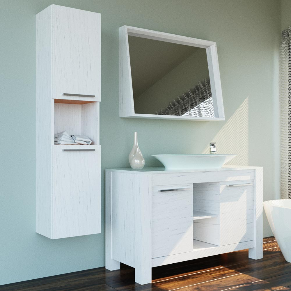 Pageo 47 1/4 inch Lacquer Matte White Bathroom Vanity | Vanity Sale