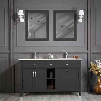 "Paterson 60"" Anthracite Double Sink Bathroom Cabinet"