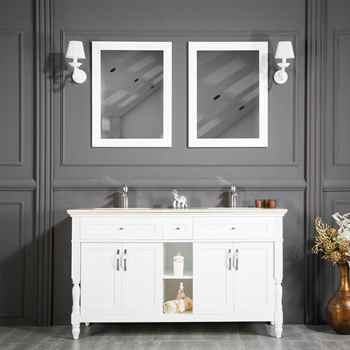 "Paterson 60"" White Double Sink Bathroom Cabinet"