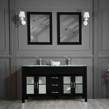 "Jersey City 60"" Black Double Sink Bathroom Cabinet"