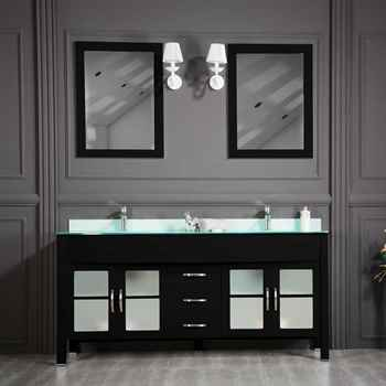 "Jersey City 72"" Black Double Sink Bathroom Cabinet"