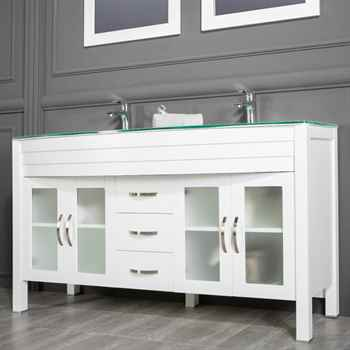 "Jersey City 60"" White Double Sink Bathroom Cabinet"
