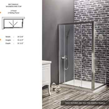 """Deluxe Rectangle Shower Door 39 3/8"""" 76 3/4"""" 31 1/2"""" 2 Fixed 2 Sliding Panel 6 mm Transparent Tempered Cristal Guard"""