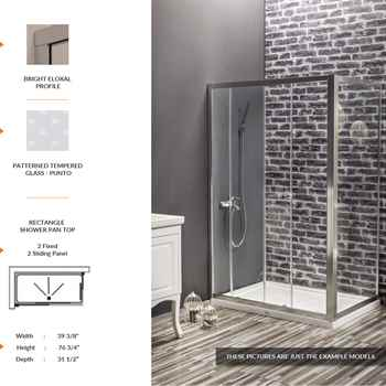 "Deluxe Rectangle Shower Door 39 3/8"" 76 3/4"" 31 1/2"" 2 Fixed 2 Sliding Panel Patterned Tempered Glass Punto"
