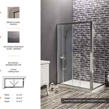 "Deluxe Rectangle Shower Door 51 1/8"" 80 3/4"" 31 1/2"" 2 Fixed 2 Sliding Panel Patterned Tempered Glass Smoked"