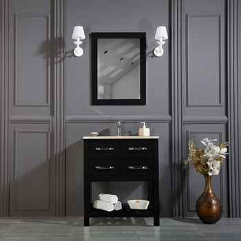 "Edison 30 inch Vanity Black Bathroom Cabinet, Carrara Counter Top Marble, Alya 4201 Chrome Faucet, Luna 23 1/2"" Square Led Mirror"