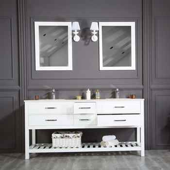 "Edison 72"" White Double Sink Bathroom Cabinet"