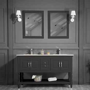 "Hamilton 60"" Anthracite Bathroom Vanity + 60"" Beige Marble Counter Top With Round Sink + 2 Pieces Alya 4201 Chrome Faucet + 2 Pieces Luna 23 1/2"" Square Led Mirror"
