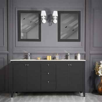 """Lakewood 72"""" Anthracite Double Sink Bathroom Cabinet"""