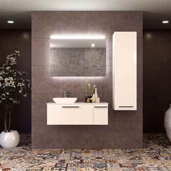 "Helmos 47 1/4"" Glossy White Bathroom Vanity"