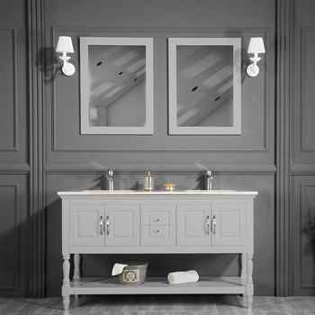 "Hamilton 60"" Light Gray Double Sink Bathroom Cabinet"