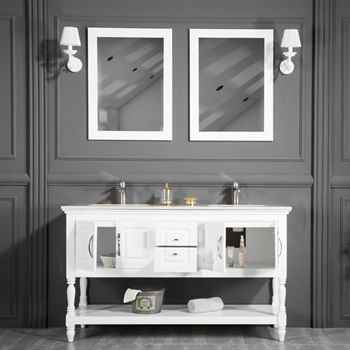 "Hamilton 60"" White Double Sink Bathroom Cabinet"