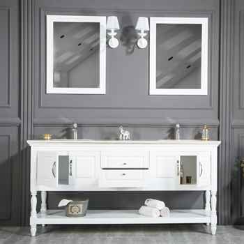 "Hamilton 72"" White Double Sink Bathroom Cabinet"