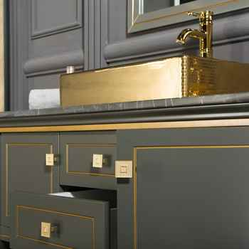 "Trenton 48"" Anthracite / Gold Bathroom Cabinet"