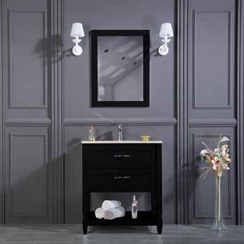 "Old Bridge 30"" Black Bathroom Cabinet"