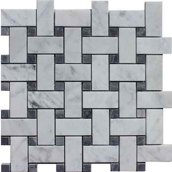 "Bianco Carrara Basketweave Mosaic Polished Bardiglio Color Dot Marble 12""x12"" (1""x2"" Chip Size)"