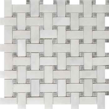 "Imperial Carrara Basketweave Mosaic Honed With Gray Dot Marble 12""x12"" (1""x2"" Chip Size)"