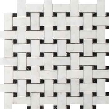 "Imperial Carrara Basketweave Mosaic Polished With Black Dot Marble 12""x12"" (1""x2"" Chip Size)"
