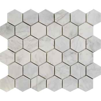 "Imperial Carrara Hexagon Mosaic Polished White Marble 12""x12"" (2"" Chip Size)"