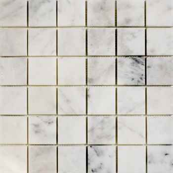 """Imperial Carrara Mosaic Polished White Marble 12""""x12"""" (2""""x2"""" Chip Size)"""